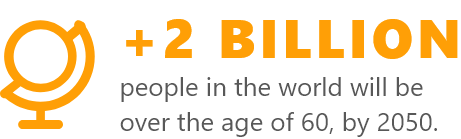 +2 Billion people in the world will be over the age of 60, by 2050